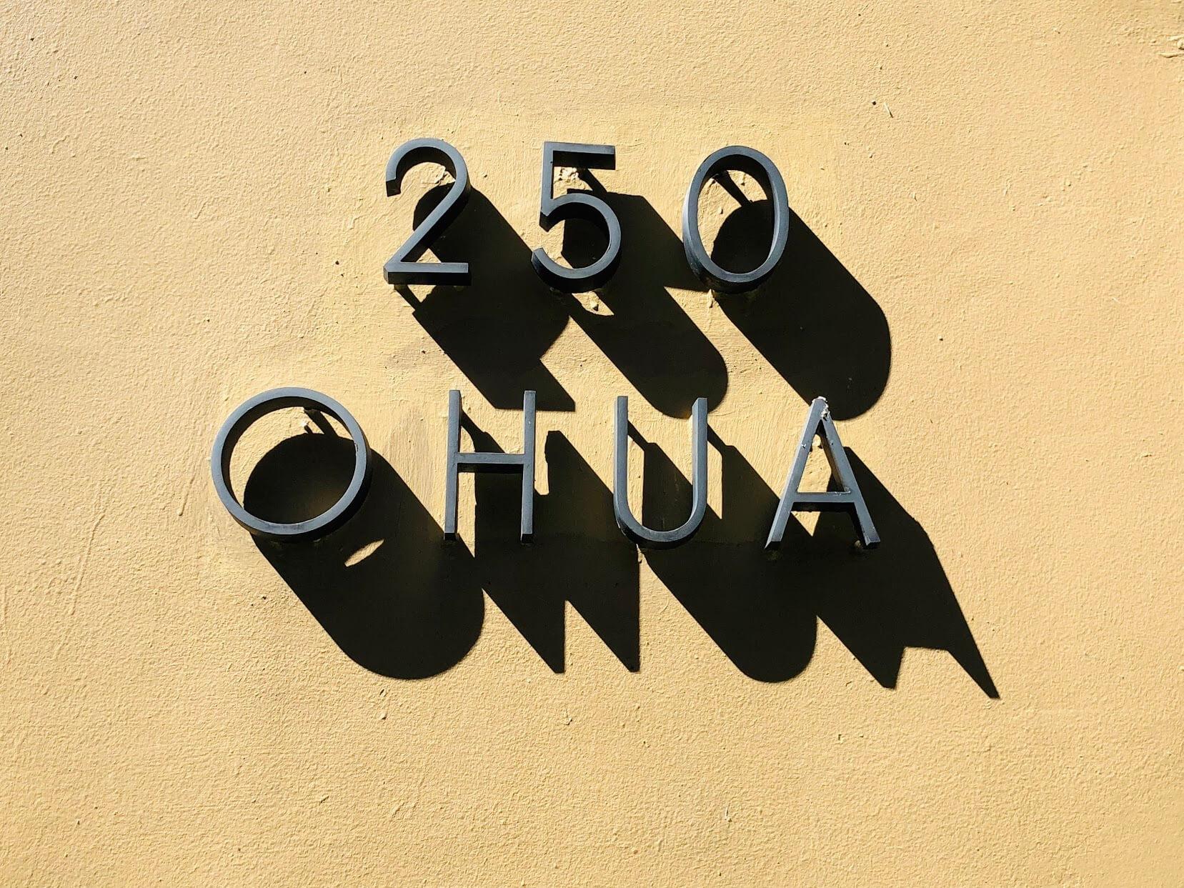250 Ohuaの看板