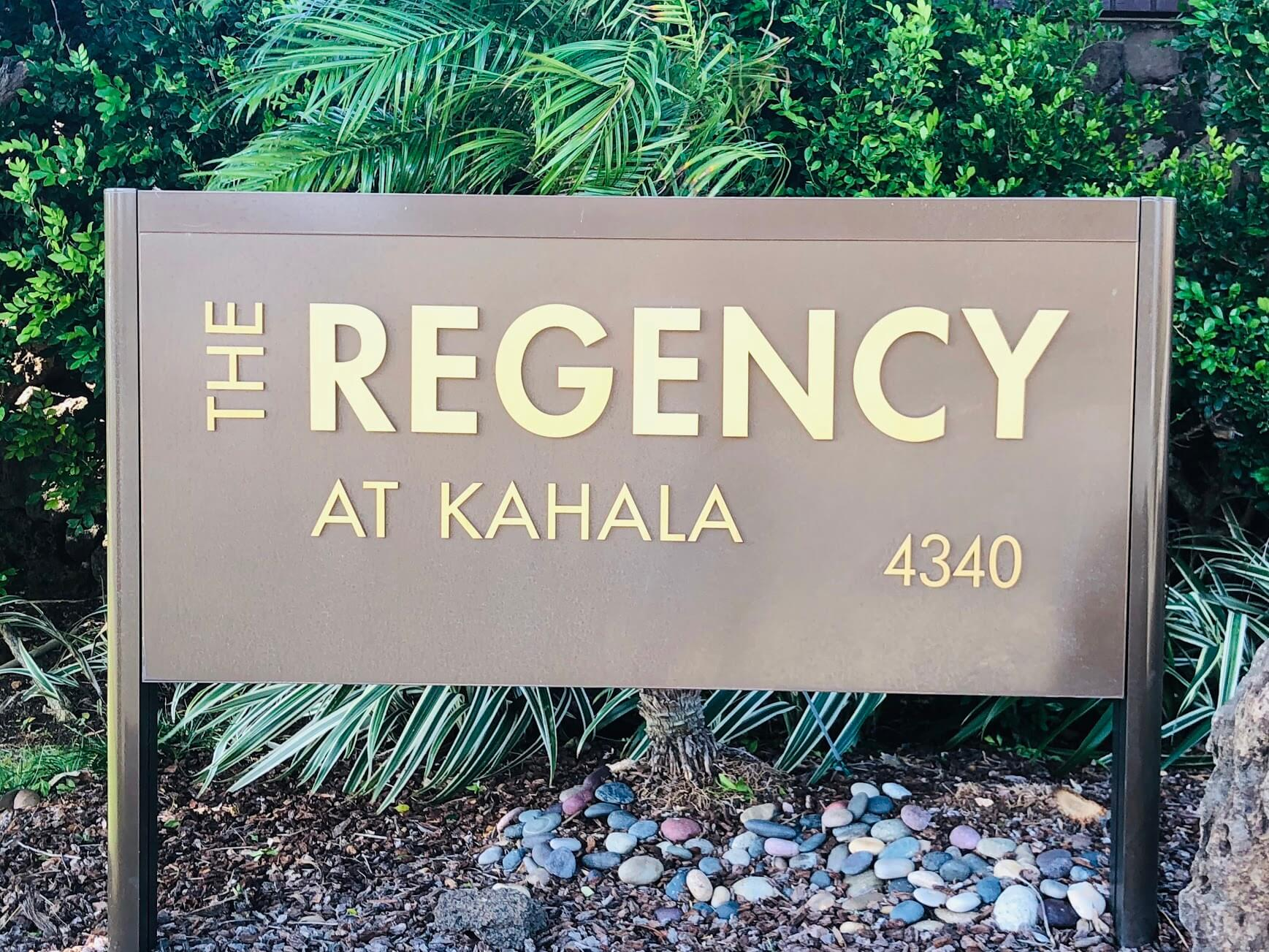 The Regency at Kahalaの看板