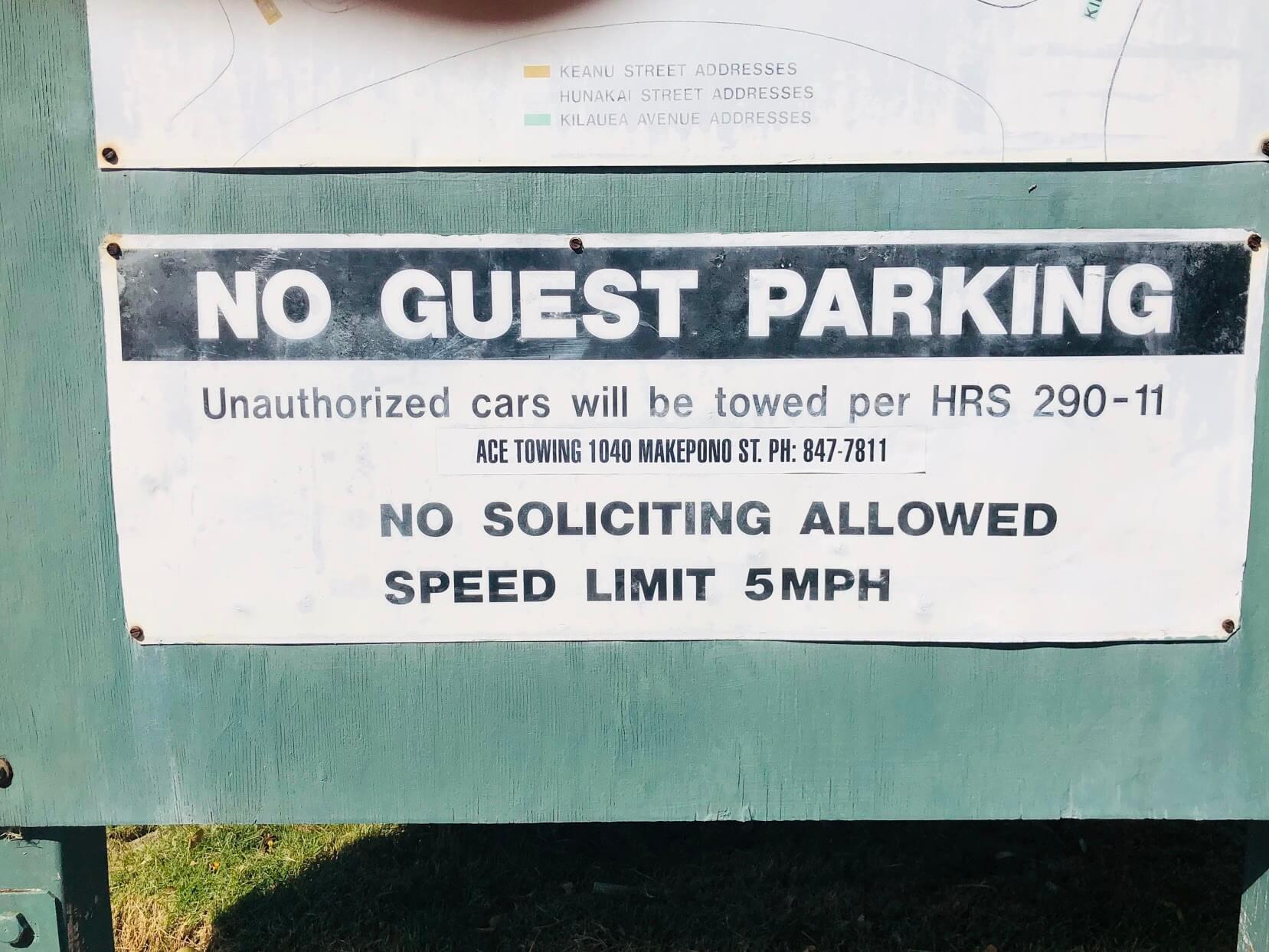 Waialae Gardensの注意書き